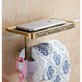 Antique Brass Toilet Roll Holder with Phone Shelf Wall Mounted High Quality