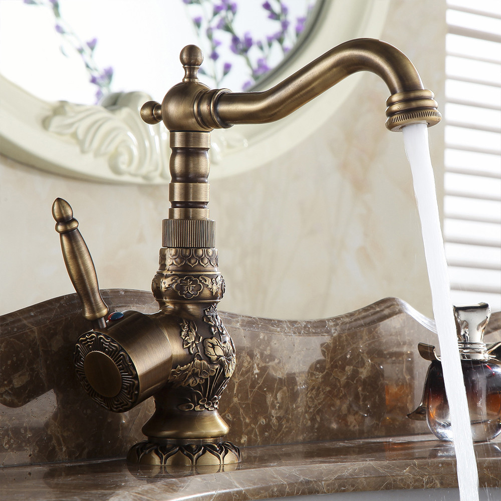 Antique Brass Kitchen Bathroom Faucet Mixer Tap Deck Mounted Single Handle