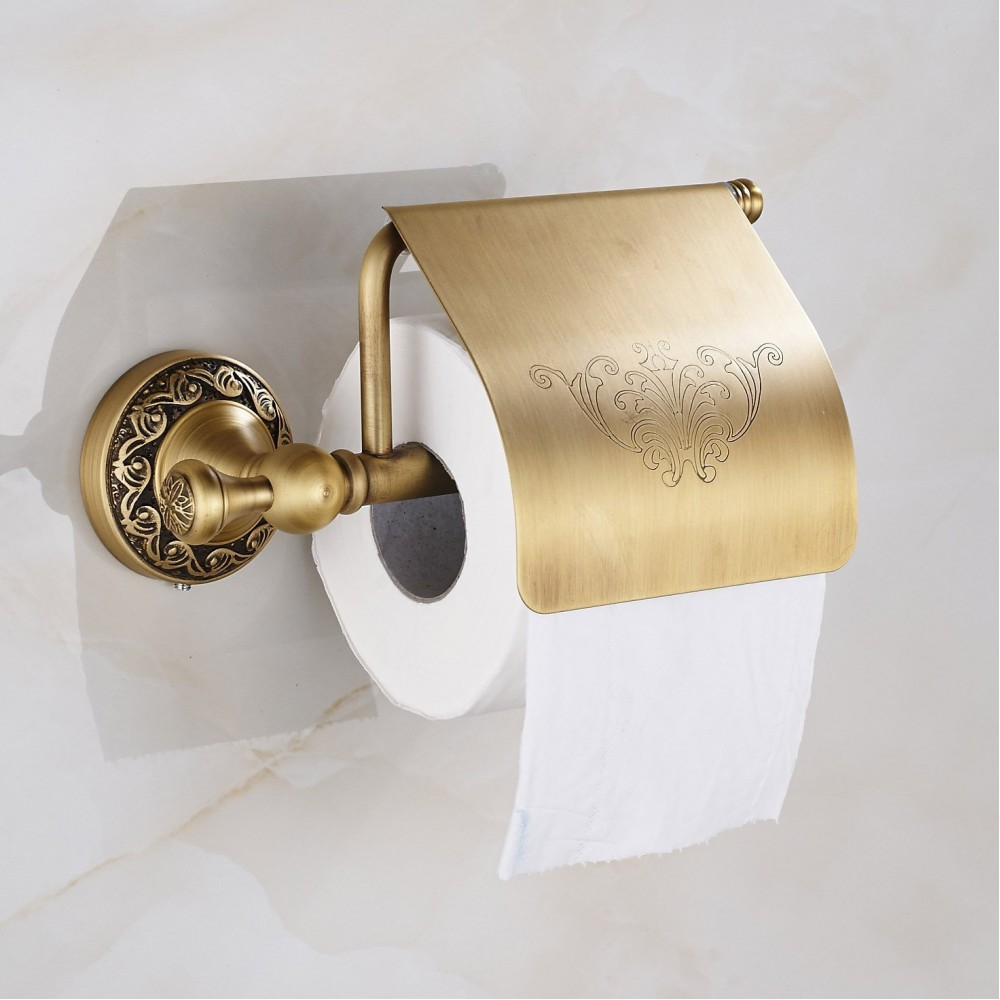 Antique Brass Toilet Roll Holder with Flap Paper Rack Wall Mounted