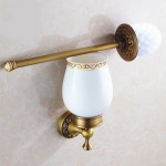 Antique Brass WC Toilet Brush and Wall Holder with Ceramics Cup