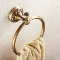 Antique Brass Bathroom Toilet Round Towel Ring Hanger