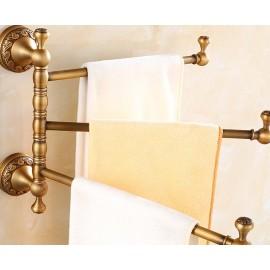 Antique Brass Bathroom Rotatable Towel Rail Bar 3-trier Hanger