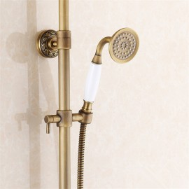 Antique Brass Retro Brushed Bath Shower Mixer Tap Panel Wall Mounted