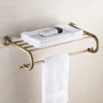 Antique Brass Bathroom Multi Towel Shelf Rail Rack Hanger Wall Mounted
