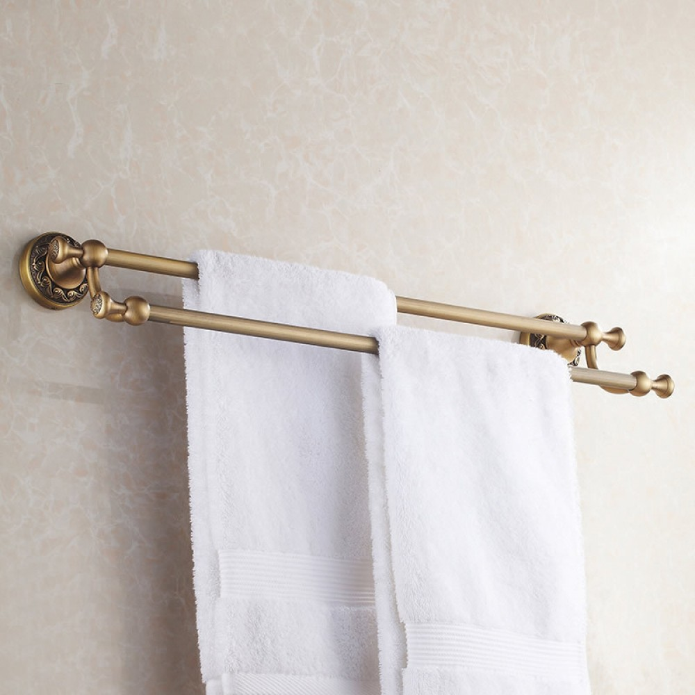 Antique Brass Bathroom Dual Towel Bars 60cm Double Rails Hanger Wall Mounted Rack