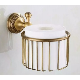 Antique Brass Toilet Roll or Shampoo Basket Wall Mounted High Quality