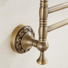 Antique Brass Retro Bathroom Rotatable Towel Rail Bar 3-trier Rack