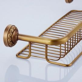 Antique Brass Bathroom Single-Tier Shelf Storage Rack Wall Mounted