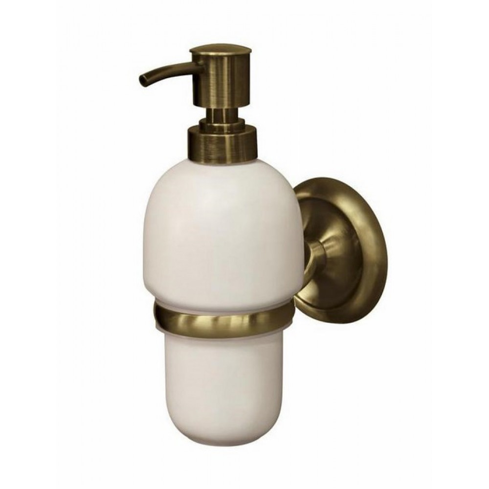 Antique Brass Wall Mounted Liquid Soap Dispenser Ceramics