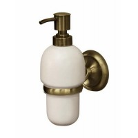 Antique Brass Wall Mounted Liquid Soap Dispenser Ceramics Bottle